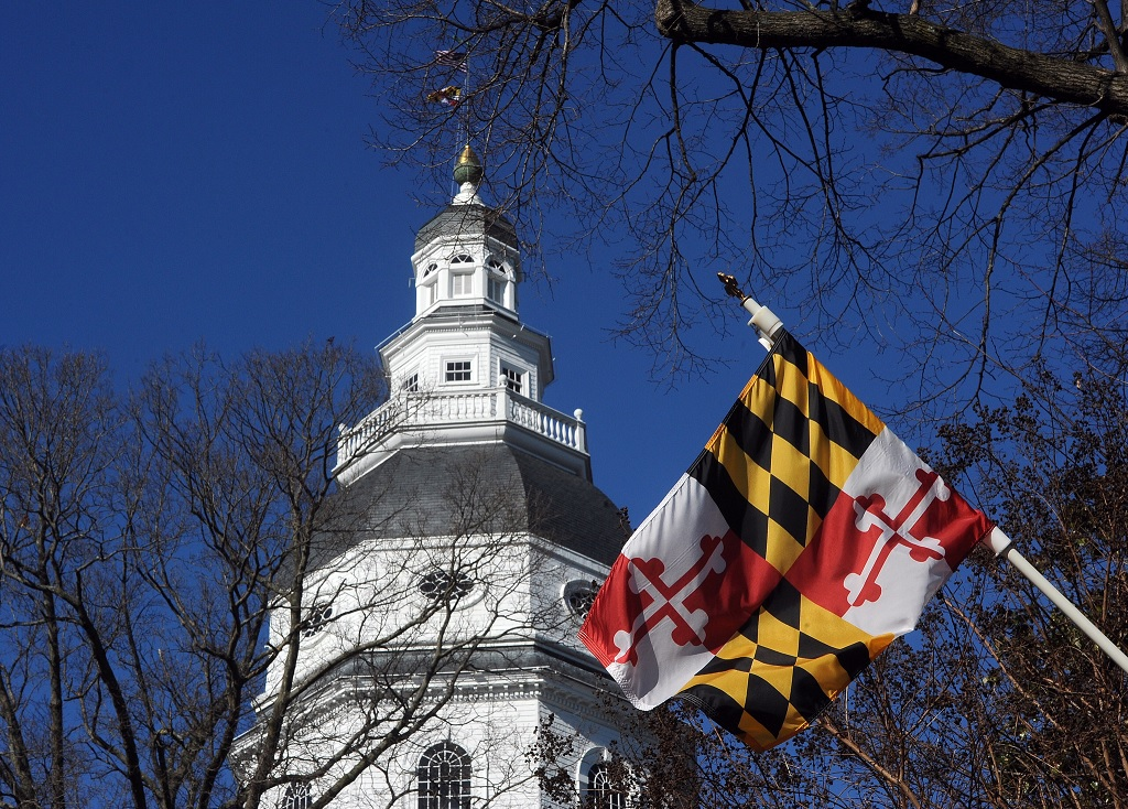 Maryland Flag In Front of Capital Building